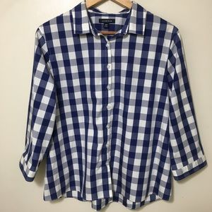 Land's End supima cotton gingham button down shirt